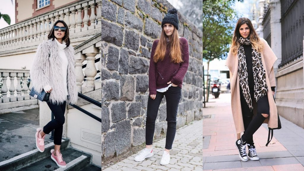 Dress with sneakers in winter